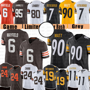 Juju Smith-Schuster 6 Baker Mayfield 24 Nick Chubb Football Jersey T.J. Watt chase claypool ben roethlisberger myles garrett ward beckham jr