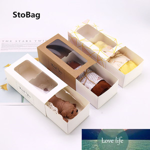 StoBag 10pcs Thank You Window Towel Cake Box Swiss Roll Snow Crisp Nougat Baking Box Dount package paper wedding party Baby Show