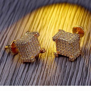Hiphop Stud earring for women men Luxury boho silver Zircon Square Dangle earrings real gold plated Vintage geometric Jewelry wholesale 218