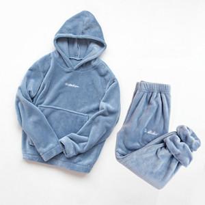 Invierno franela Conjunto de pijama mujeres Fleece con capucha + pantalones pijama de dormir a casa ropa caliente grueso terciopelo Coral camisón femenino Traje