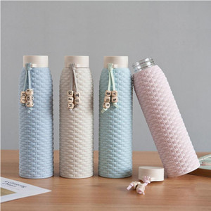 Bouteilles de paille de blé de 310 ml en plastique innovant Case en verre imitation Rattin Coupe-cadeau littéraire - Bouteille d'eau de style coréen fille fraîche YHM876