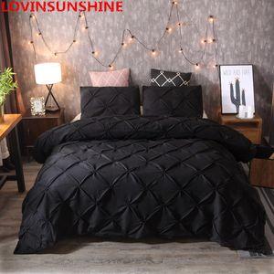 luxe Pinch couverture ensembles de literie couette literie Pleat couette linge de lit Taies reine king size Taies literies C1111