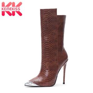 KemeKiss Plus Size 34-45 nagelneue Halb kurze Stiefel Frauen Spitzschuh Sexy Herbst-Winter-Designer-Schuh-Frauen-Absatz-Aufladungen