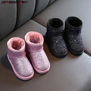 2020Girls Boys 2019 New Winter Children Bling Snow Boots Plush Toddler Boots Kids Keeping