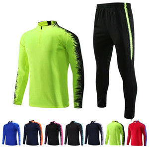 Hot Soccer Jersey Men's Sports Tracksuit Customized Clothing Half Zipper Suits Outwear Jacket Pants Sets Asian Size 4XL Training