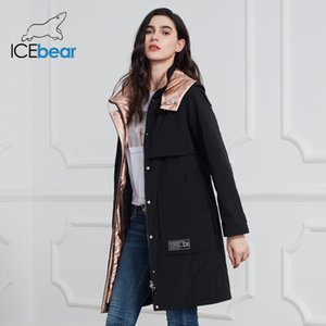 İcebear Yeni Coat Uzun Ceket Kalite parka Moda Günlük Marka Kadınlar Giyim GWC20727I 201109