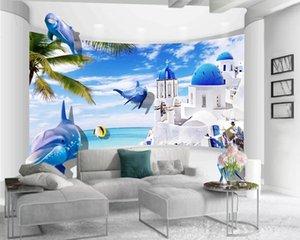 Wall Wallpaper 3d Photo Wallpaper Mural Beautiful Beach White Palace Romantic Landscape Decorative 3d Mural Wallpaper
