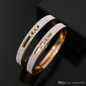 Fashion Couple Love Crystal Cuff Bracelet for Women Gold Stainless Steel Bracelets & Bangles Jewelry