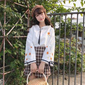 Japanese Kawaii Hoodies 2020 Cute Print Harajuku Women Sweatshirts Winter Mori Girl Cherry Blossoms Lolita Hooded Hoodie Girls