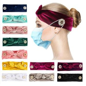 Women Button Headband Fashion Mask Holder Elastic Headband Rabbit Ears Head Wrap Bandana Pure Color Hair Accessories Party Favor GWC3357