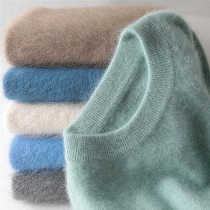 jinjiaxian cuello redondo con capucha gruesa hombres del invierno flojo de gran tamaño que hace punto suéter de cachemira 201112