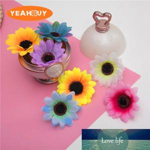 10шт 6colors 6.5cm подсолнечника головы искусственного моделирования шелковой ткани цветок поделки украшения дома Ronde цветок аксессуар
