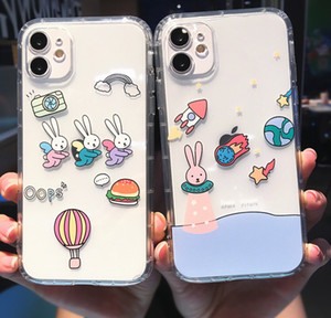 Per iPhone 12mini Cute Cartoon Custodia per cellulare animale del fumetto per iPhone 12 Mini 11 Pro Max X XS XR 7 8 Plus SE2 Funny Couple Clear Soft Shurt Cover