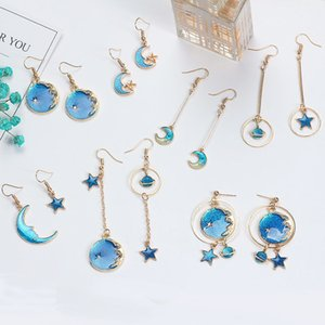 2020 New Fashion Hoop Earrings Lovely Simple Blue   The Moon   Starry Sky   Long Section Asymmetric Pendant For Ladies Gift