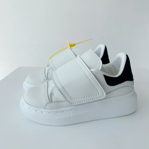 Top Quality Kids Shoes Velvet Black Platform Sneakers Fashion Todders Hook & Loop White Genuine Leather Party Shoes Child Gift