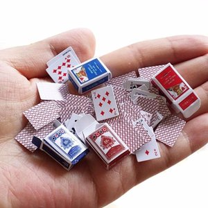 1 Set 1:12 Cute Miniature Dollhouse Cute Mini Poker Playing Cards Style Random Mini Cute Poker Doll Accessories