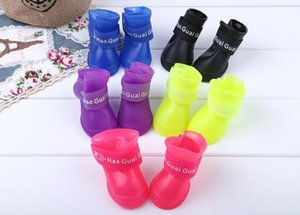 Lovely Waterproof Pet Portable Dog Boots Anti Slip Dog's Rain Shoes Size S M L Candy Colors (4 pieces Set)