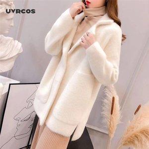 UVRCOS 2020 Automne et hiver nouveau manteau à manches longues de Loose Women facile assorti Cardigan épais manteau mode couleur solide