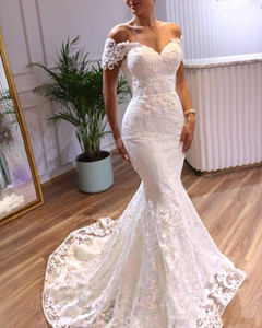 Elegant Mermaid Wedding Dresses Short Sleeves 2021 Lace Applique Sweep Train Custom Made Plus Size Wedding Bridal Gown Vestido de novia
