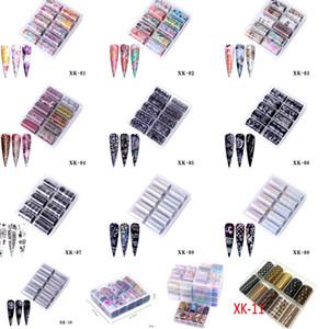 NAS006 10PCS Feuilles d'ongles Virement holographique Stickers de l'eau Nail Art Stickers 4 * 100cm Mots Sticker Faux Nails Conseils Décoration