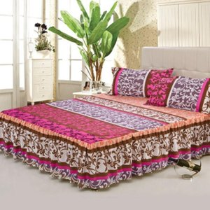 3pcs Floral Bed Skirt Fitted Sheet Cover Graceful Bedspread Double Girl Bedding Set Home Textile Non-slip Cover + 2 Pillowcases