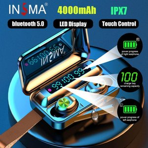 INSMA F9-10 3led Power Bank bluetooth 5.0 TWS Earphones Led Digital Display Wireless Stereo Sport Waterproof Earbuds ipx7