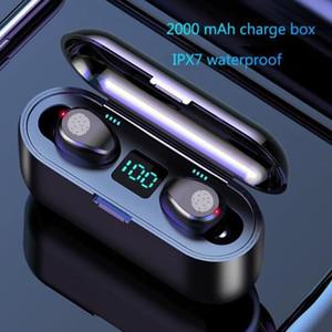 Wireless Display fone de ouvido Bluetooth V5.0 F9 TWS sem fio Bluetooth LED Headphone Com 2000mAh Power Bank Headset Com Microfone 11111