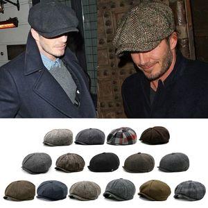 2020 men and women fall and winter warm woolen octagonal hat beret big head cap outdoor