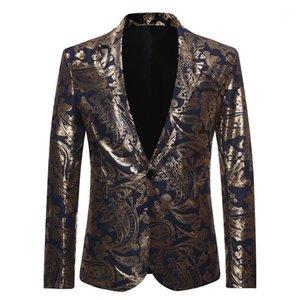 Velvet Gold Blazer Men Paisley Floral Jackets Golden Stage Suit Jacket Elegant Wedding Mens Formal Blazer Big and Tall Size XXL1