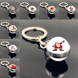 Fashion Christmas Cartoon Keyrings Gemstone Pendant Keychain Santa Claus Key Holder Women Charm Jewelry Accessories Party Favor GWB2509
