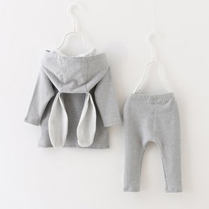 Clearance Excelent NEWEST lovely baby girls Kids Baby Boy Girl Cartoon Rabbit Hoodie Sweatshirt Tops+Pants Set Clothes Z0213