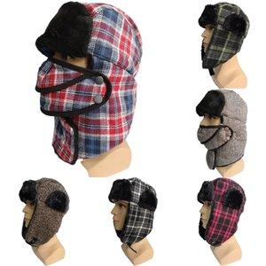 Trapper Cap mit Maske Männer Frauen-Winter-warmer Pelz-Schnee-Hut Plaid Earflap Ski Radmütze Bomber Hats DDA783