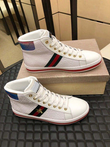 NEW style Top Quality Scarpe Men Women Casual Shoes Fashion Sneakers Lace-up Shoes Red Stripe Black Leather Bee Embroidered Chaussures