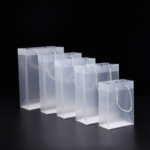 8 Size Frosted PVC plastic gift bags with handles waterproof transparent PVC bag clear handbag party favors bag KKB2667