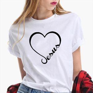 Love Heart Jesus Faith T Shirt Women Short Sleeve Funny Christian Graphic Tshirt Women Funny Tee Shirt Slim Clothes