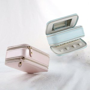 Fashion Travel PU Leather Jewelry Zipper Organizer Box Holder Show Case For Ring Earring Storage Display Cosmetic Bags