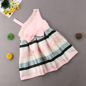 Pudcoco 3-9y Princess Kid Girls Dresses One Shoulder Bow Tutu Dress Kid Dress For Girl Party Elegant Wedding Dress Girl sqcbCL