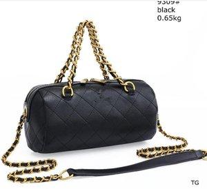 nueva cadena de diamante estilo bolso de la almohadilla cilindro bolsa de mensajero del bolso del bolso redondo cubo 2020 de las mujeres