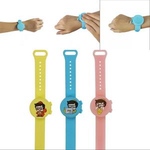 Silikon Yuvarlak Mix Renkler Bilezik Çocuklar Moda İzle El Temizleyici Bileklik Giyilebilir Doldurulabilir Sıvı Sabun Dağıtıcı 15AK G2