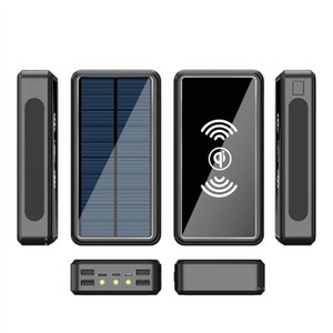 80000mah Power Bank Solar Wireless Portable Phone Fast Charging External Charger 4 USB Poverbank LED Light for iPhone Xiaomi Mi Free