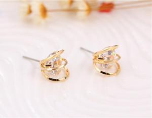 Brincos de ouro 18K brincos ocos coreano de luxo filigrana elegante Zircon brincos geométricos