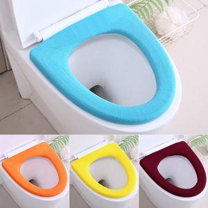 Tapis de siège de toilette universel MAT Couleur solide Couleur chaude Sièges ronds ronds à couvercle réutilisable lavable salle de bain à proximité couvre-siège VT1950