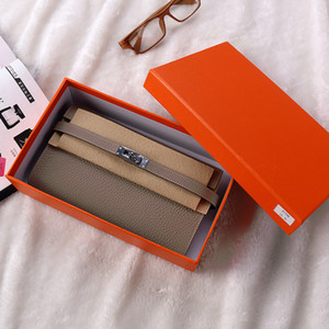 Woman Wallet Long Genuine Leather Famous Brand Designer Female Lock Buckle Credit Card Holder Purse With Zipper Pocket