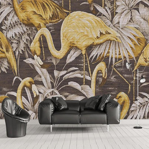 Custom 3D Wall Mural Modern Cloth Texture Golden Birds Leaf Abstract Wallpaper Living Room TV Sofa Bedroom Papel De Parede Sala