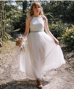 Hot Sale Summer A Line Tulle Wedding Dresses 2021 Beaded Sash Lace Halter Neck Bridal Gowns Ankle Length Cheap Robe De Marrige