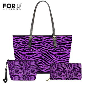 Forudesigns Yeni Mor Altın Zebra Baskı Çanta Kadınlar Rahat 3 adet / takım Omuz Çantaları Kadınlar Için Büyük Alışveriş Kılıf Çanta