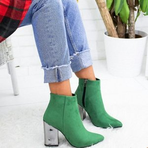 European Pointed Toe Girl Boots Solid Woman Rivet Boots Autumn Winter 2020 New High Heeled Shoes 7gR5#