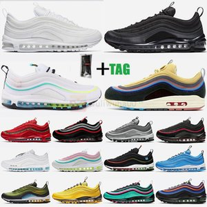 2021 Air MAX 97 Vapormax Airmax  114/5000 Chaussures de course Black Bullet Triple blanc Sean Wotherspoon Midnight Navy Hommes Femmes Baskets Avec Chaussettes 97s Baskets