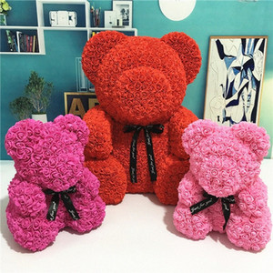 24cm Rose Bear with Gift Box Gift Teddi Bear Foam Toys Rose Flower Artificial Valentines for Women Christmas Dropshipping wsu2#