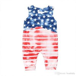 Детские Summer Star Комбинезон American Independence Флаг национальный праздник США 4 июля без рукавов Печатный Полосатый Строчка Romper младенца